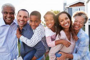 A happy looking multi generation african american family