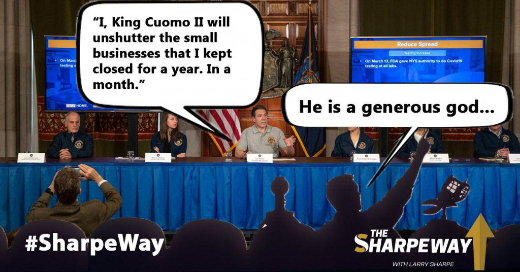A meme that says Cuomo is a generous God for announcing that entertainment venues can reopen on April 2.